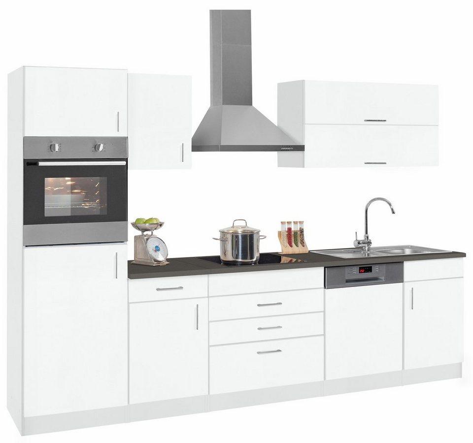 Held Möbel Küchenzeile mit E-Geräten »Mira«, Breite 300 cm in weiß