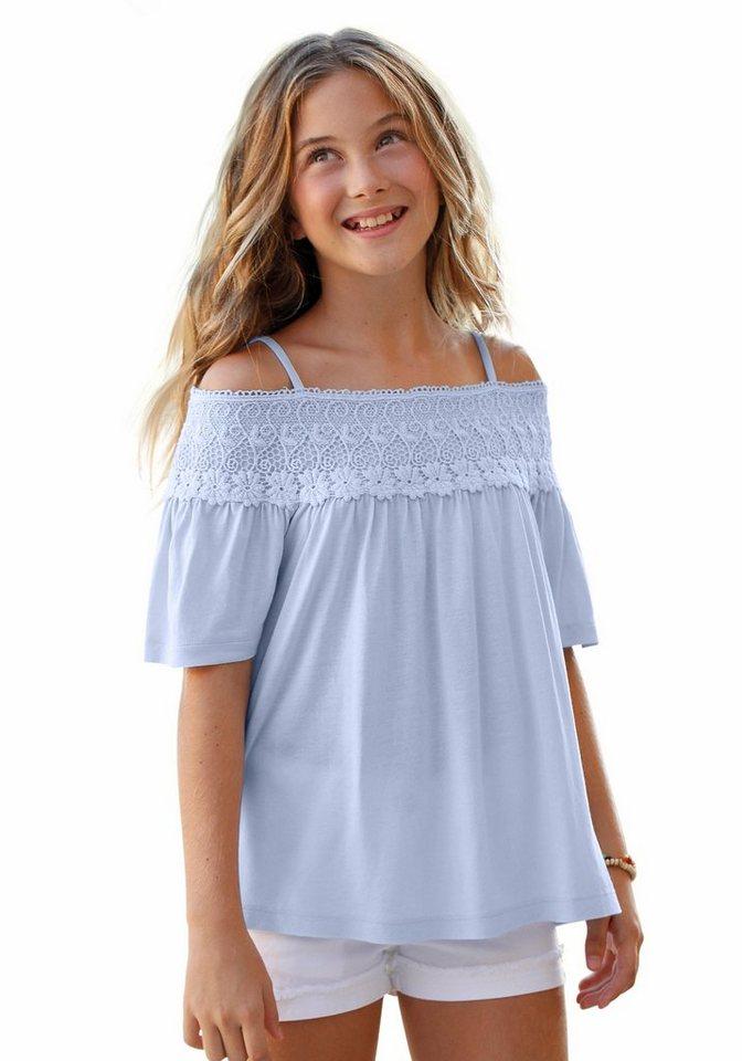 Arizona Shirt mit Spitzenbesatz, für Mädchen in hellblau