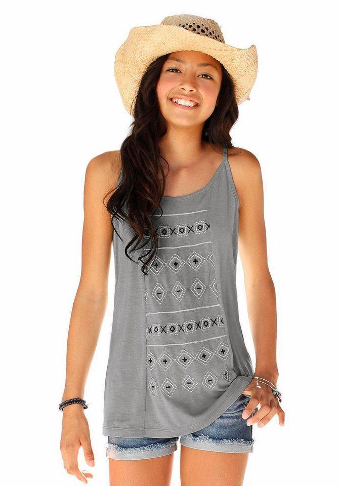 Arizona Longtop bedruckt, für Mädchen in grau-gemustert-bedruckt
