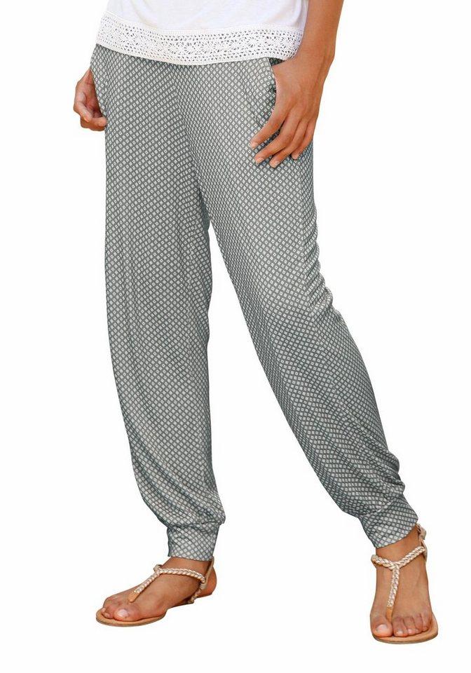 Arizona Haremshose bedruckt, für Mädchen in Gemustert-grau-weiß