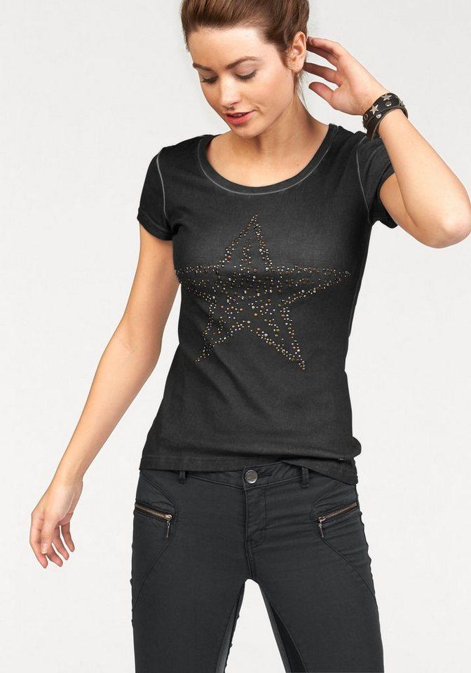 AJC T-Shirt mit Nieten oder Pailetten in anthrazit