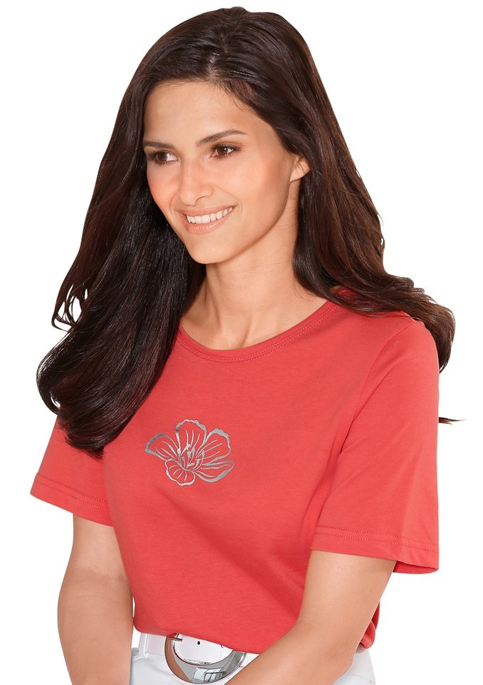 Classic Basics Shirt mit platziertem, silberfarbigem Foliendruck in korallenrot
