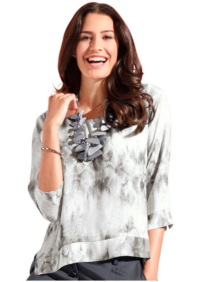 Création L Bluse, hinten etwas länger in grau-bedruckt
