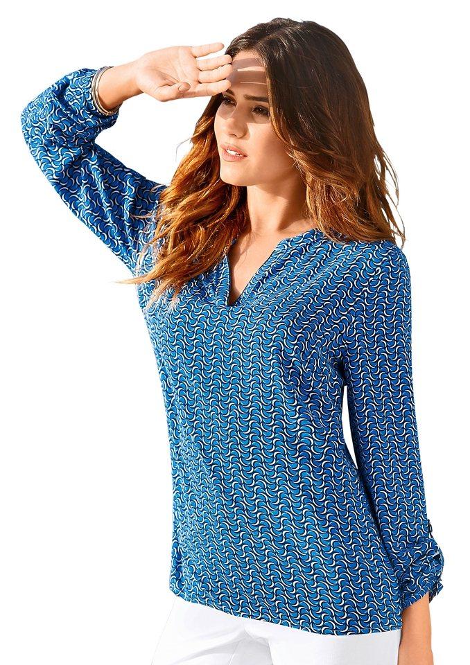 Création L Bluse in weich fließender Viskose-Qualität in blau-bedruckt
