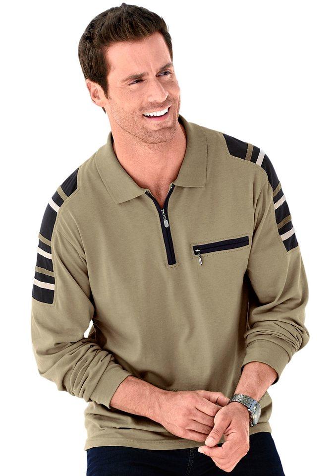 Catamaran Poloshirt mit Kontrastbändern im Schulterbereich in beige