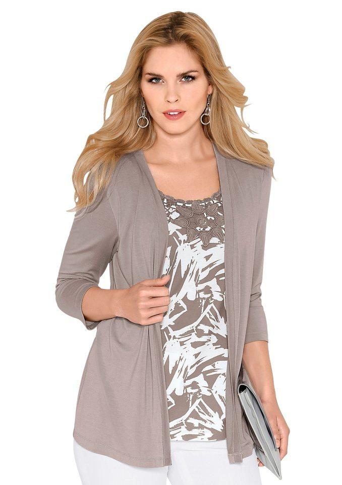 Lady Shirt mit Schalkragen und 3/4-Ärmeln in taupe-wollweiß-gemustert