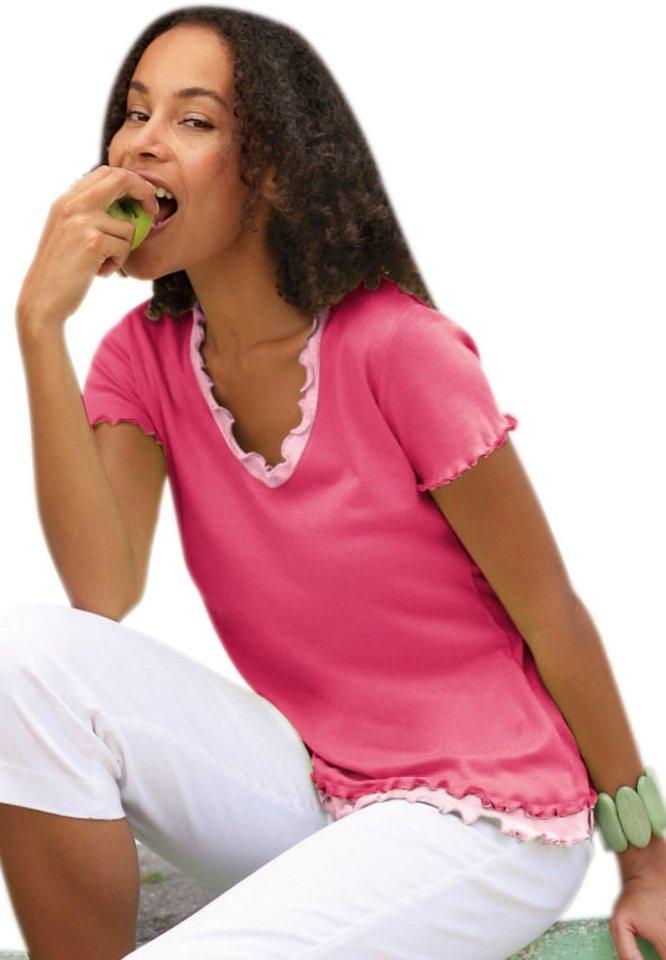 Classic Inspirationen Shirt mit gewelltem Abschluss am Ausschnitt in cyclam-rosé