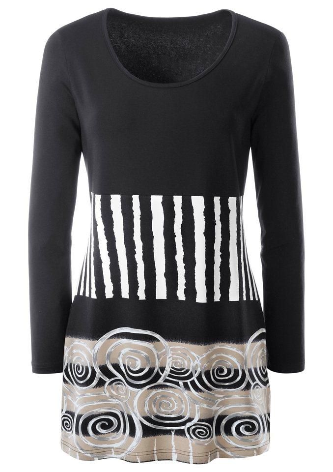Ambria Longshirt im Vorder- und Rückteil bedruckt in schwarz-gemustert