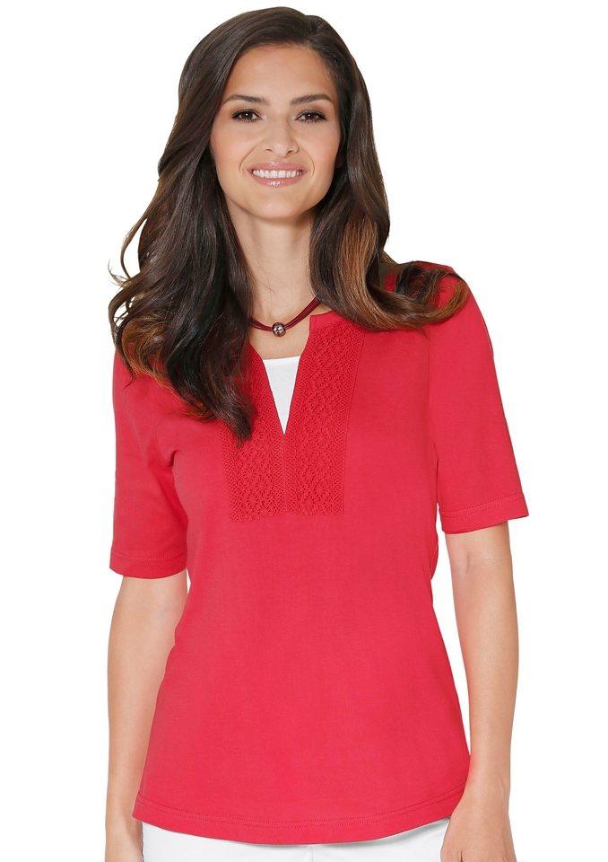 Classic Basics Shirt mit hochwertiger Baumwoll-Spitze in korallenrot