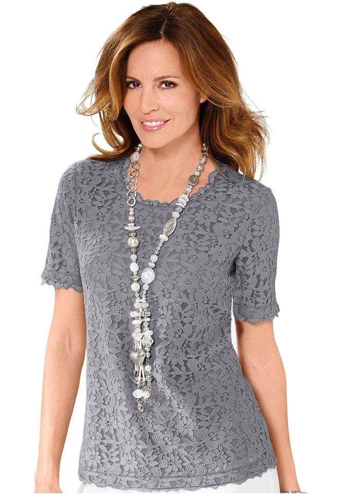 Lady Shirt aus edler Spitze in grau