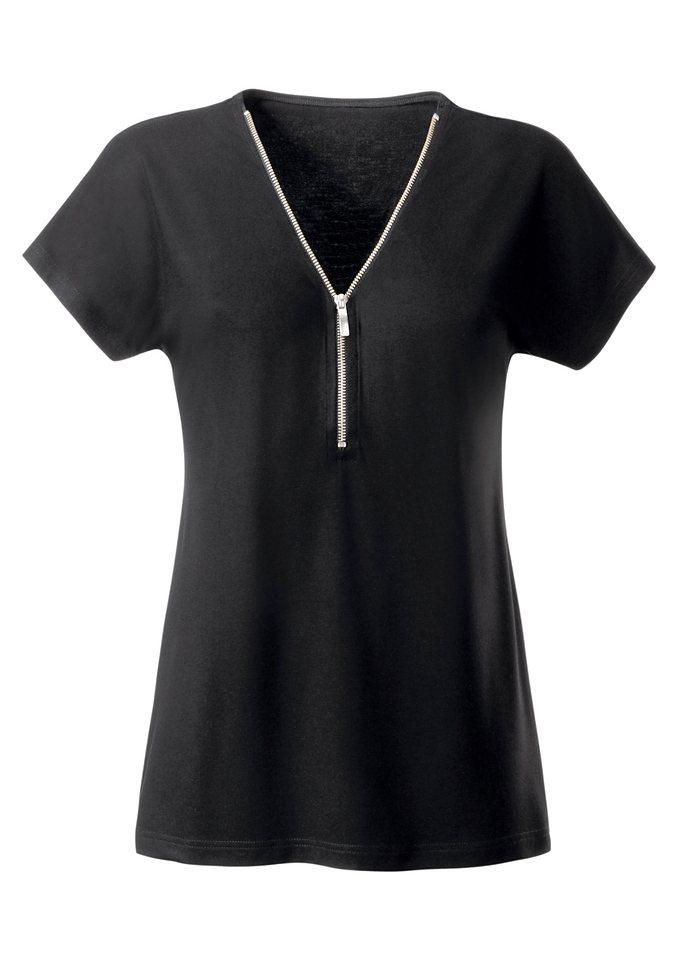 Ambria Shirt mit Reißverschluss am Ausschnitt in schwarz