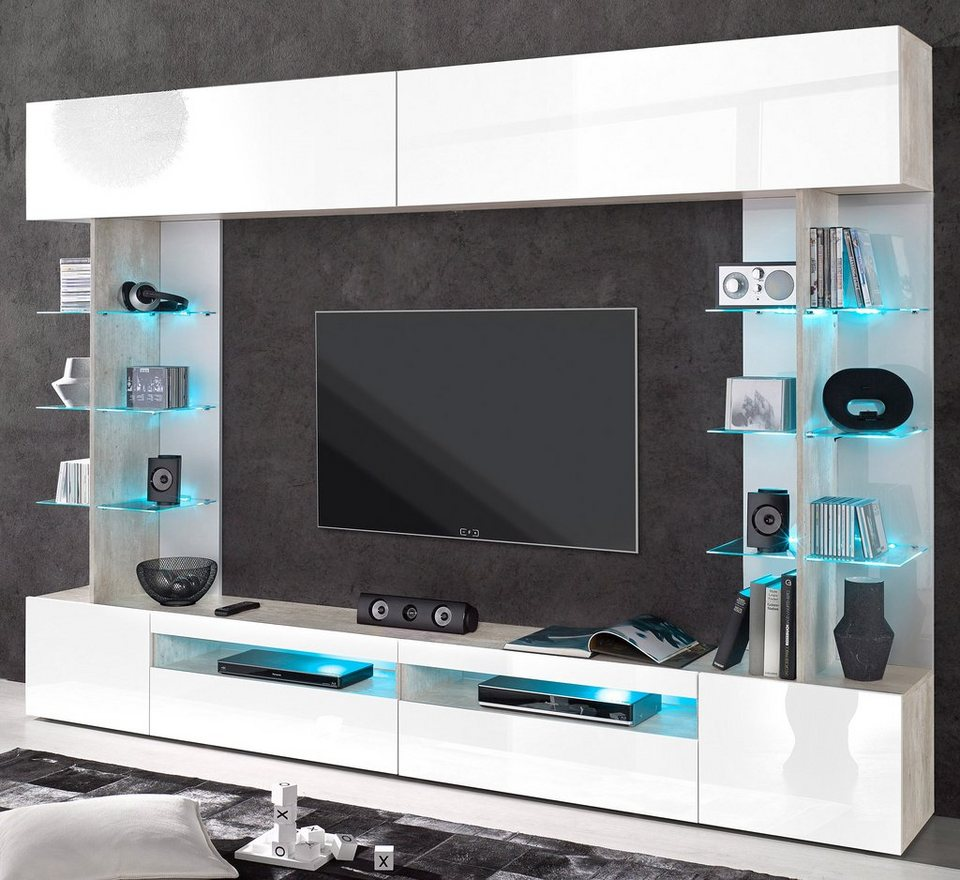 Tecnos Mediawand in Beton-Optik/weiß Hochglanz