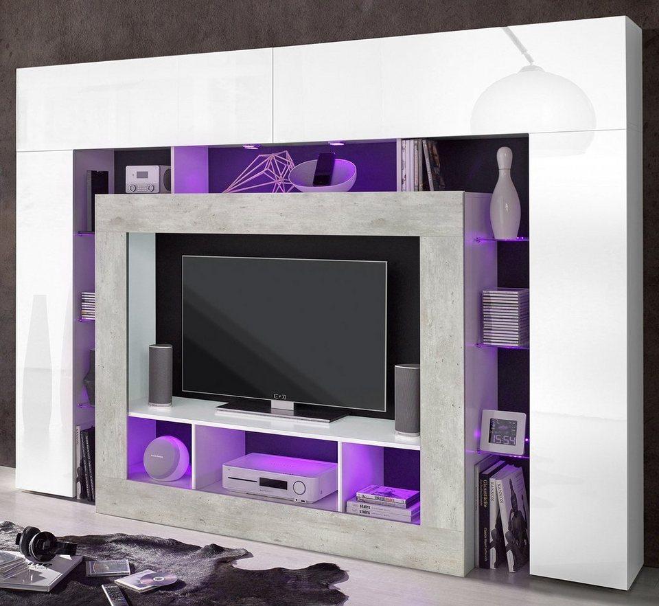 Tecnos Mediawand in weiß/Beton-Optik