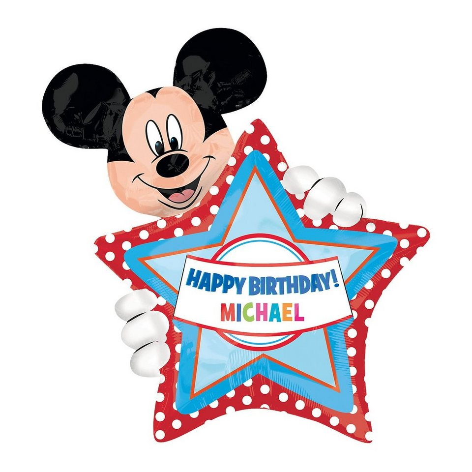 Amscan Folienballon XL Happy Birthday Mickey Maus
