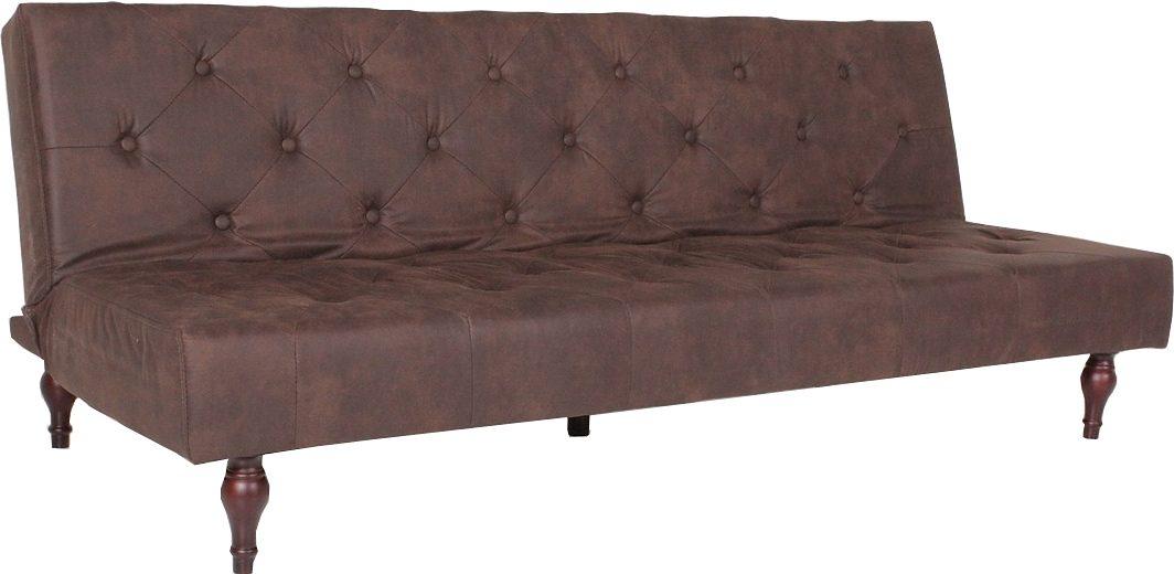 Kasper-Wohndesign Schlafsofa Stoff Chesterfield Style Bettcouch kolonial braun »KAWOLA VINTAGE«