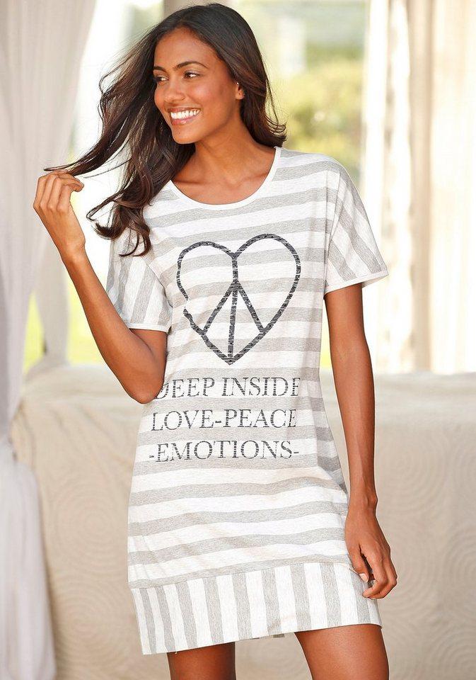 ARIZONA Gestreiftes Nachthemd mit herzförmigem Peaceprint in grau gestreift