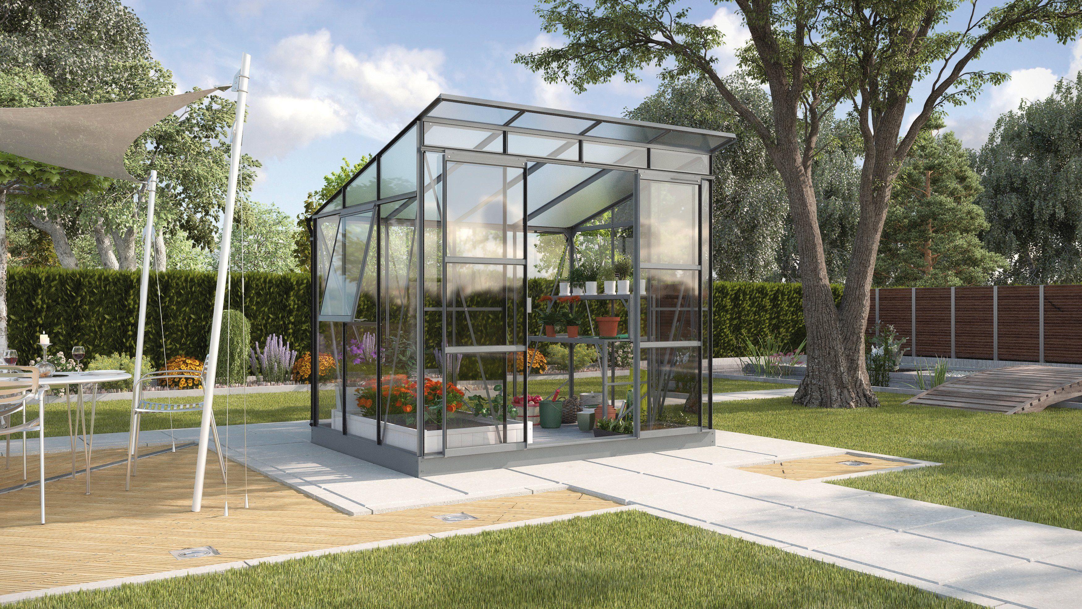 Gewächshaus »Freya 5900«, BxT: 254x192 cm, grau pulverbeschichtet
