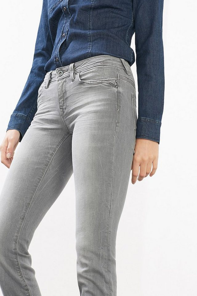 EDC Stretch-Jeans mit Used-Finish in LIGHT GREY