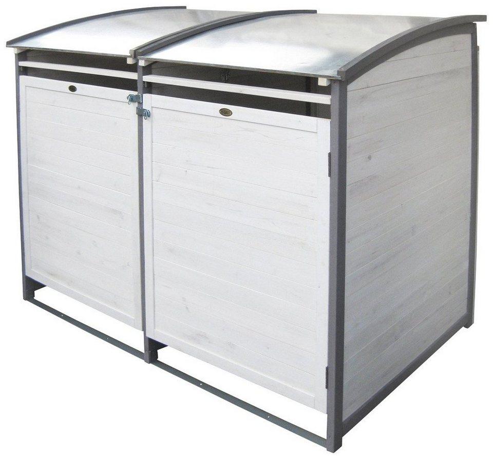 HABAU Mülltonnenbox , für 2x120 l aus Holz, B/T/H: 122/76/116 cm in weiß/grau