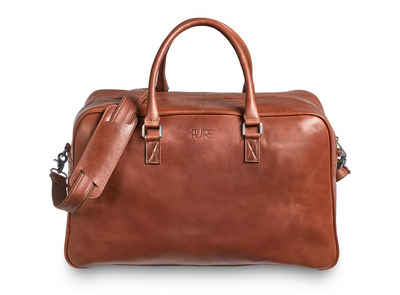 PURE Leather Studio Reisetasche »CANOPUS«, Echtleder Weekender Handgepäck mit Schultergut und 15,6 Zoll Laptopfach