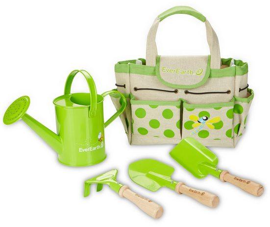 EverEarth® Kinder-Gartenset »Gartenbeutel mit Geräten«, (Set, 5-tlg), FSC®-Holz aus gewissenhaft bewirtschafteten Wäldern