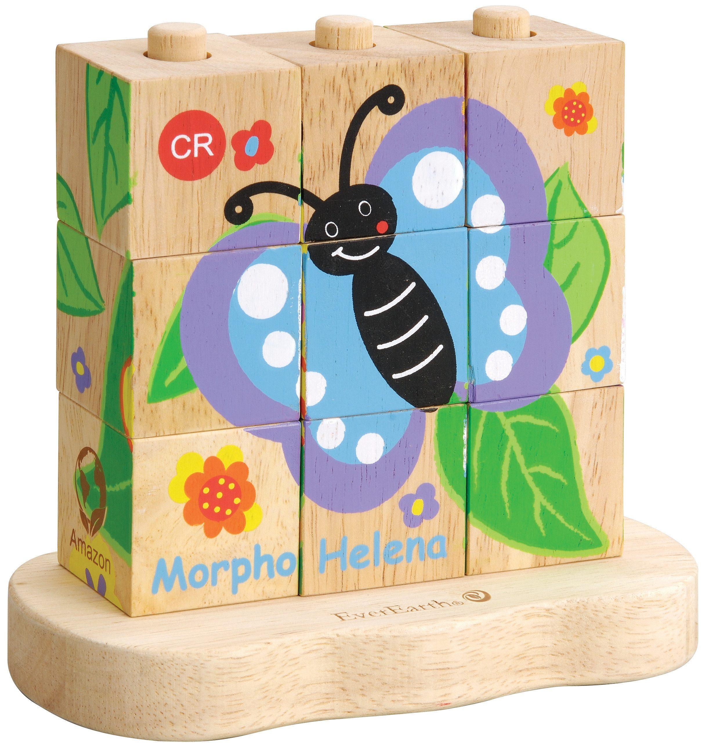 EverEarth® Würfelpuzzle aus Holz, »Raupe-Schmetterling«