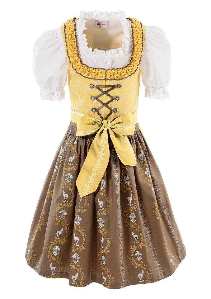 Turi Landhaus Dirndl Kinder mit Bänderschnürung (3tlg.) in gelb