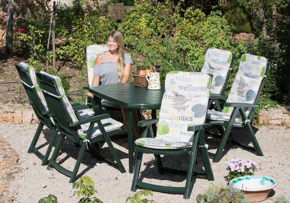 13-tgl. Gartenmöbelset »Elise«, 6 Klappsessel, Tisch 137x90 cm, Kunststoff, grün