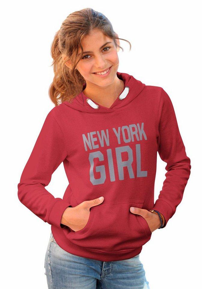 Arizona Kapuzensweatshirt mit tollem Frontdruck in rot-meliert