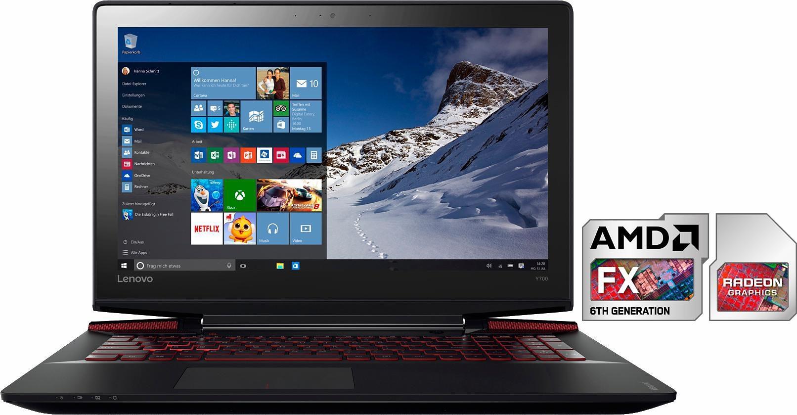 Lenovo Ideapad Y700-15ACZ Notebook, AMD, 39,6 cm (15,6 Zoll), 1000 GB Speicher, 8192 MB DDR3-RAM