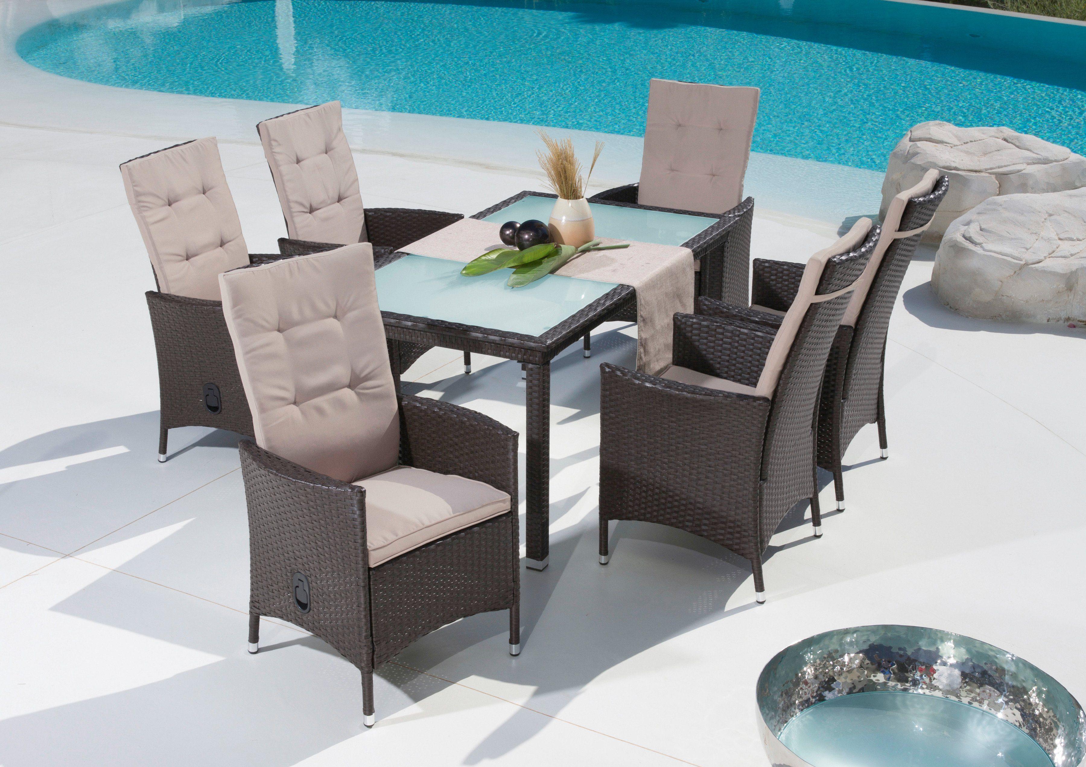 13-tgl. Gartenmöbelset »Madeira«, 6 Sessel, Tisch 148,5x84,5 cm, Polyrattan, braun