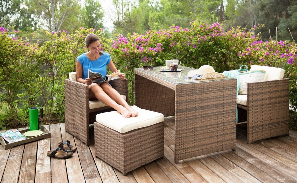 merxx set gartenm belset merano 11 tlg 2 sessel 2 hocker tisch 128x70 cm polyrattan. Black Bedroom Furniture Sets. Home Design Ideas
