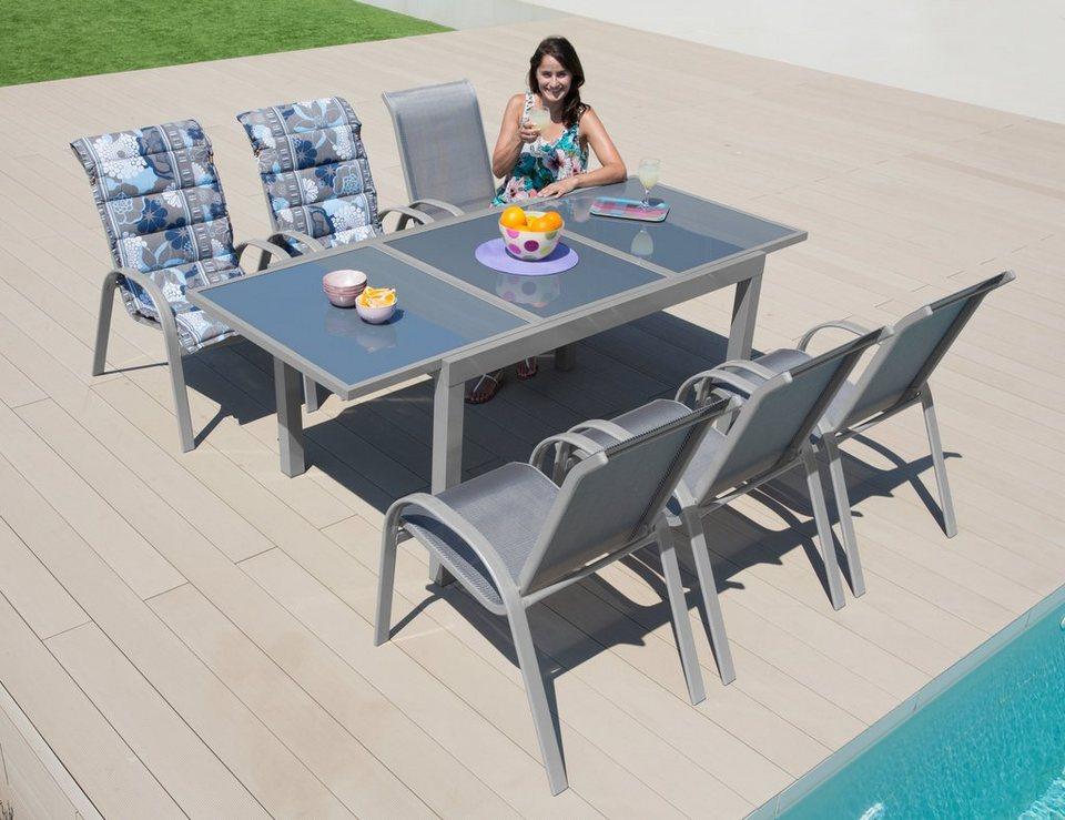 Gartenmöbelset »Amalfi«, 7-tlg., 6 Sessel, Tisch 140-200 cm, Alu ...