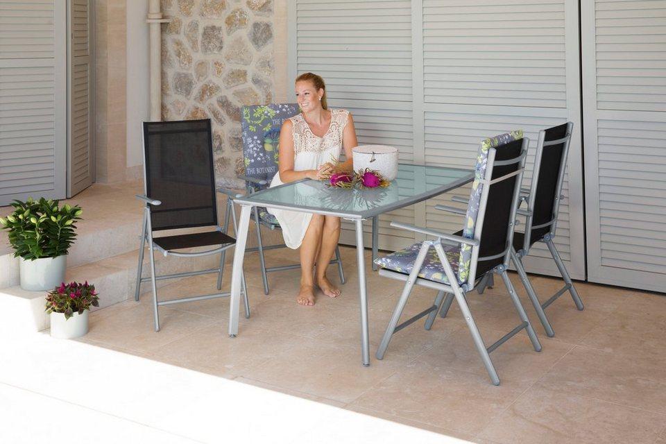 5-tgl. Gartenmöbelset »Lima«, 4 Hochlehner, Tisch 150x90 cm,Alu/Textil, schwarz in schwarz