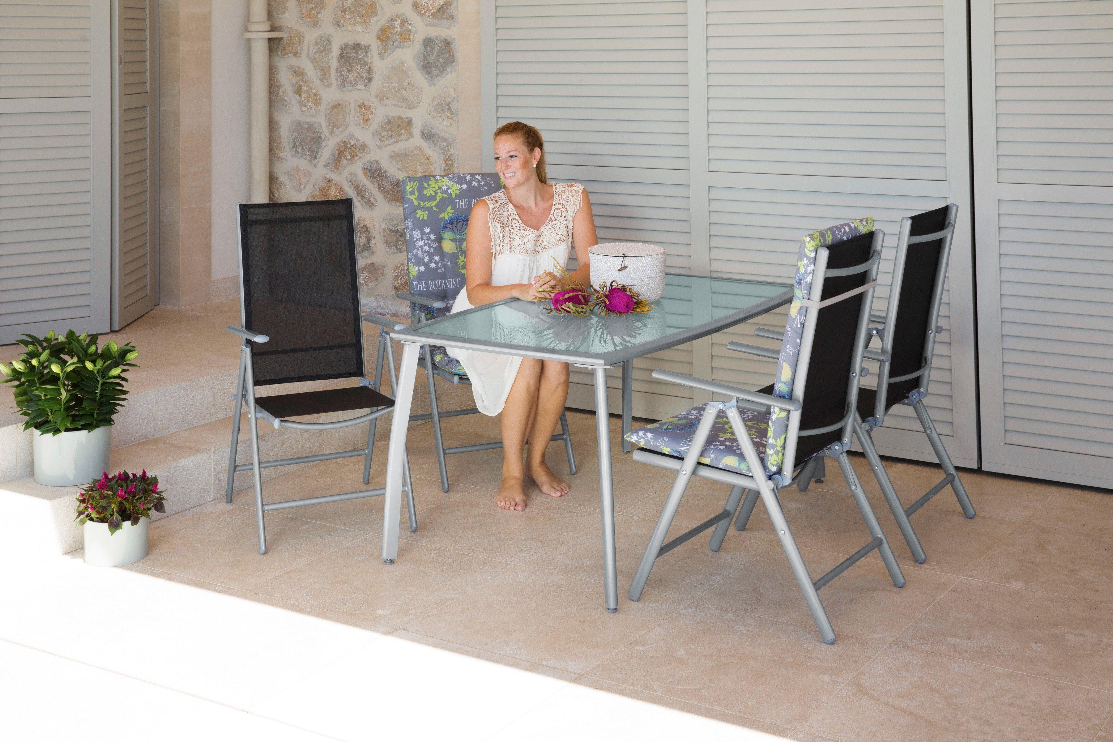 5-tlg. Gartenmöbelset »Lima«, 4 Hochlehner, Tisch 150x90 cm,Alu/Textil, schwarz