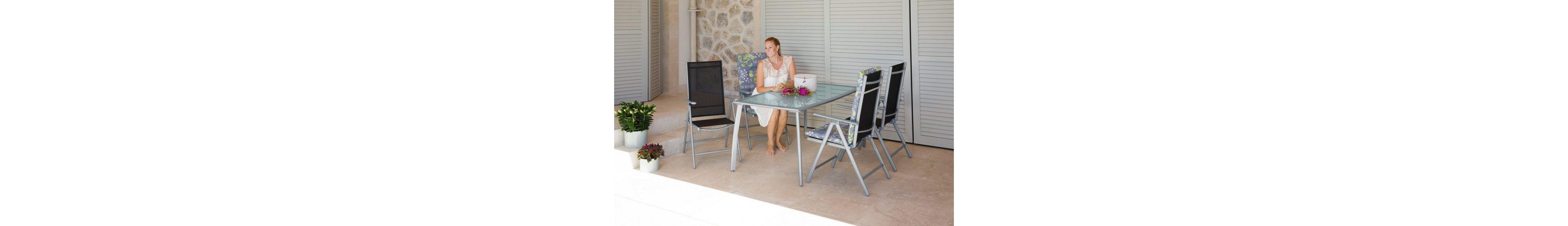 5-tgl. Gartenmöbelset »Lima«, 4 Hochlehner, Tisch 150x90 cm,Alu/Textil, schwarz