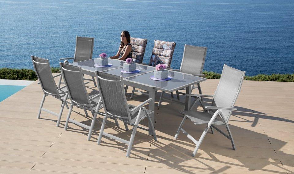 9-tgl. Gartenmöbelset »Amalfi«, 8 Sessel, Tisch 180-240 cm, Alu/Textil in diamantfarben