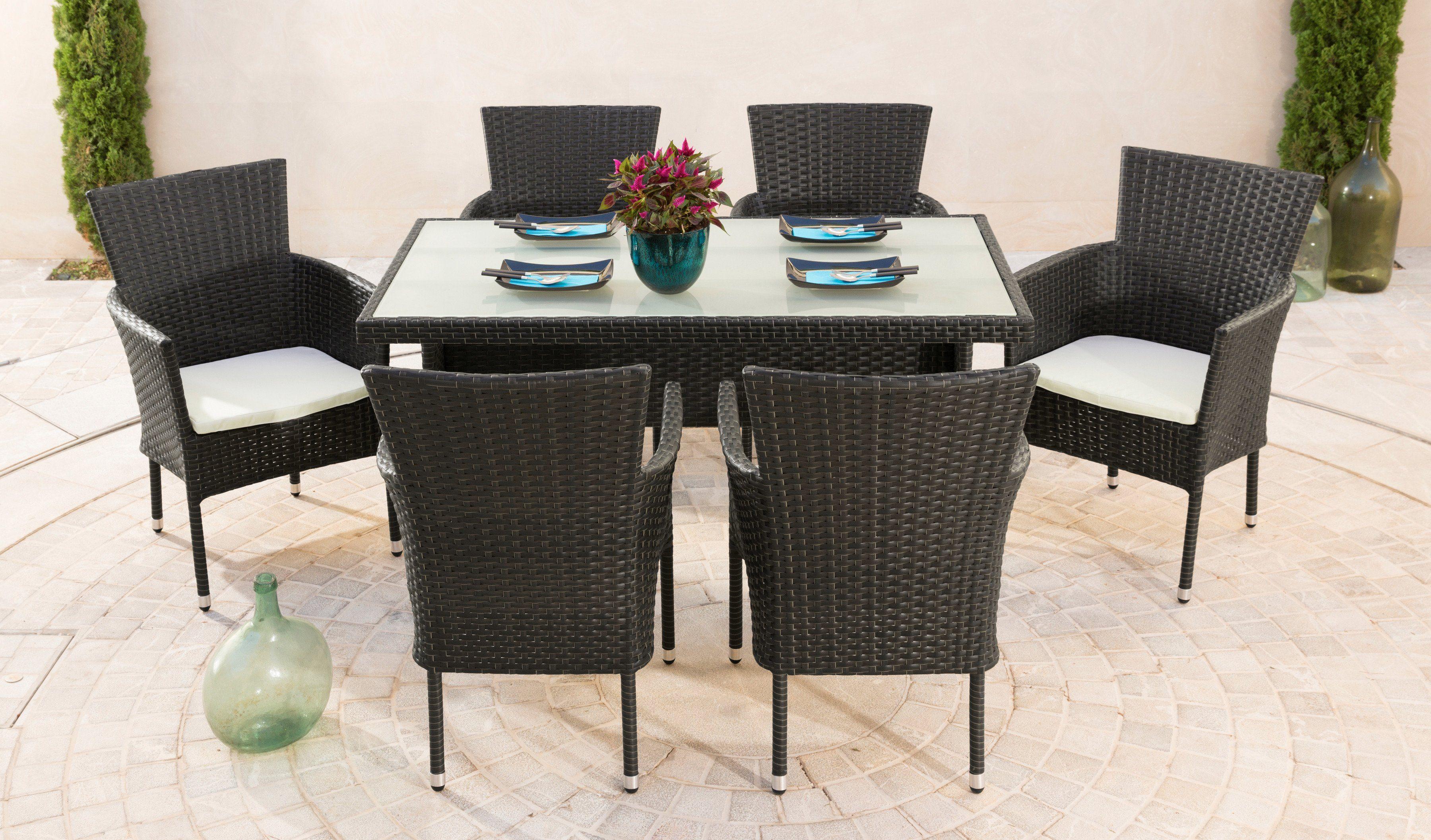 Gartenmöbelset »Trentino«, 6 Sessel, Tisch 140x80 cm, Polyrattan, braun