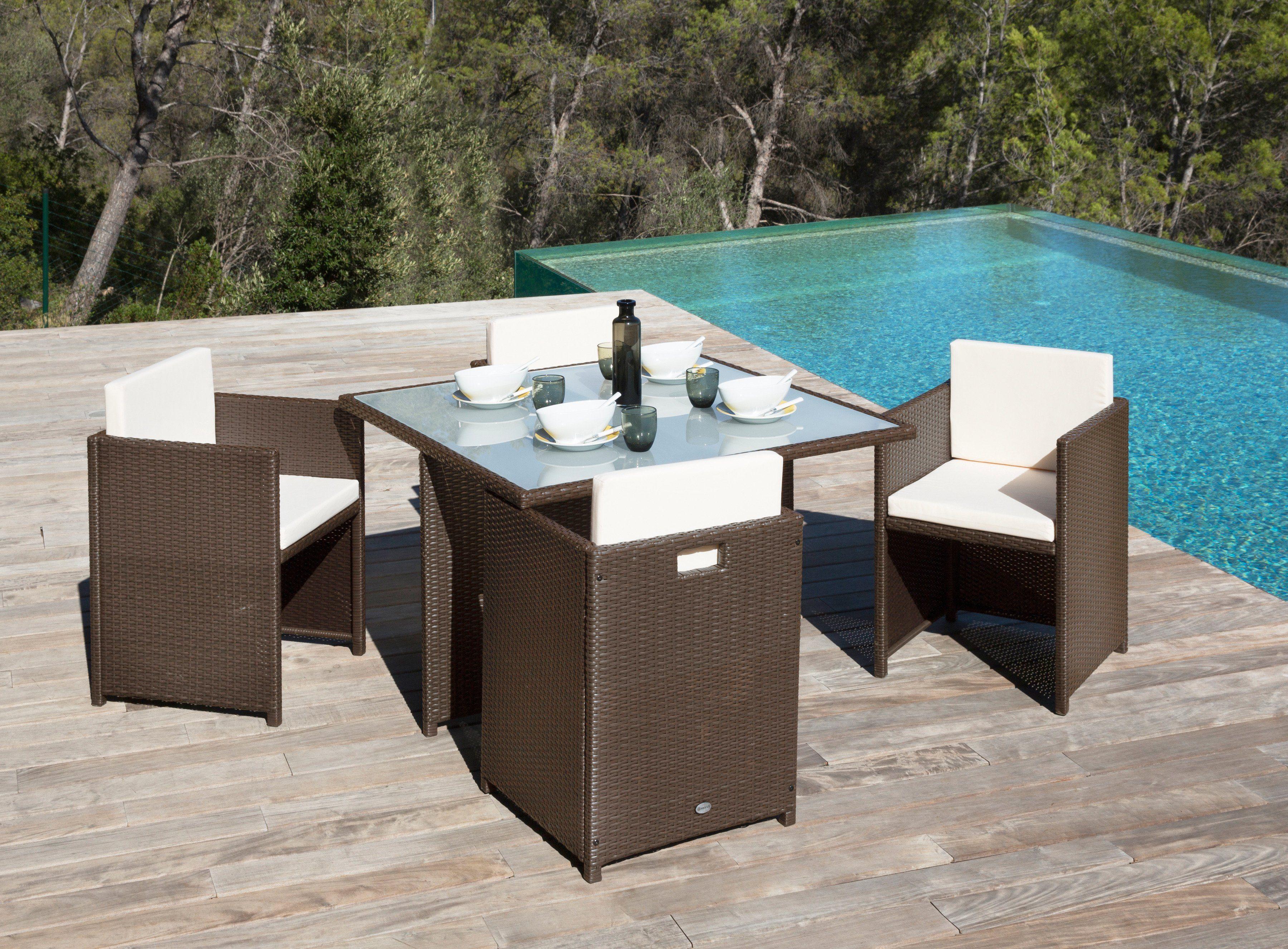 Gartenmöbelset »Verona«, 4 Sessel, Tisch 110x110 cm, Polyrattan, braun