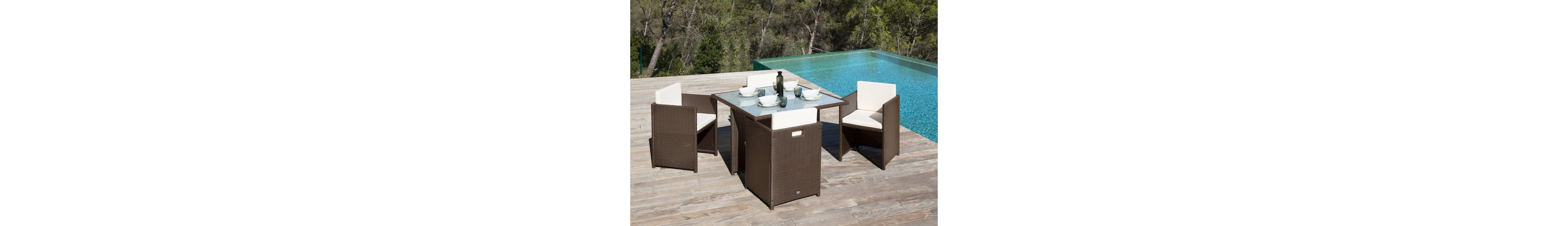 13-tgl. Gartenmöbelset »Verona«, 4 Sessel, Tisch 110x110 cm, Kunststoff, braun