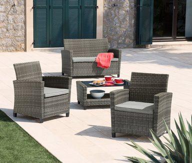 loungeset porto 7 tlg 2 sessel 2er sofa tisch 90x48 cm polyrattan grau online kaufen otto. Black Bedroom Furniture Sets. Home Design Ideas