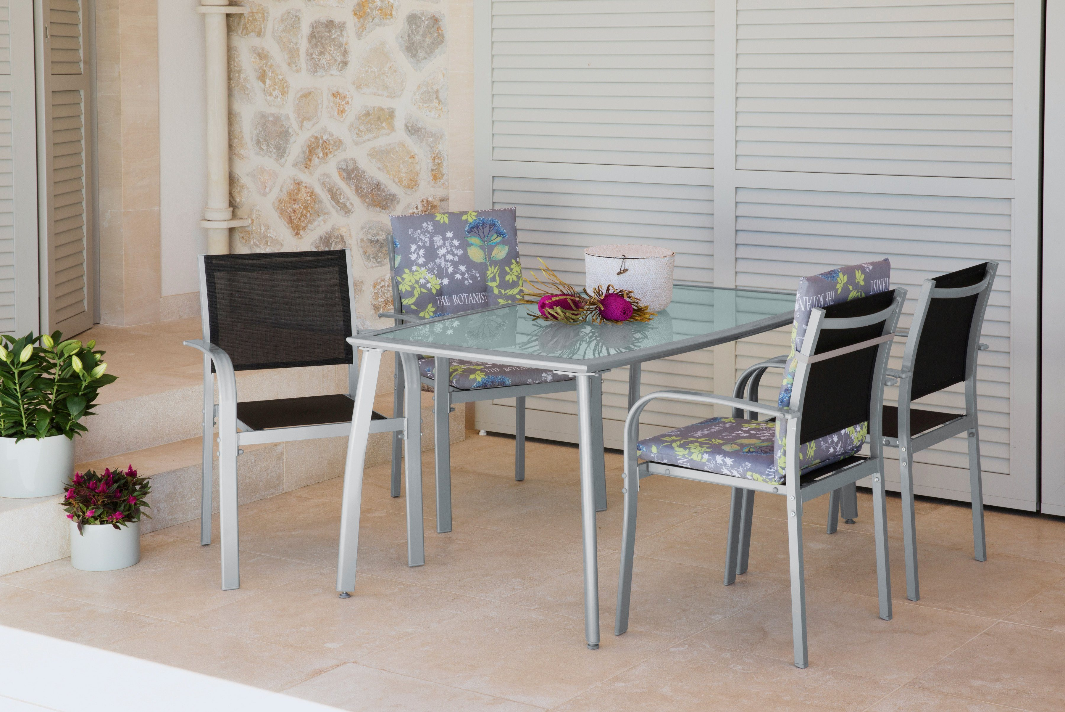 5-tgl. Gartenmöbelset »Lima«, 4 Stapelsessel, Tisch 150x90 cm, Alu/Textil, schwarz