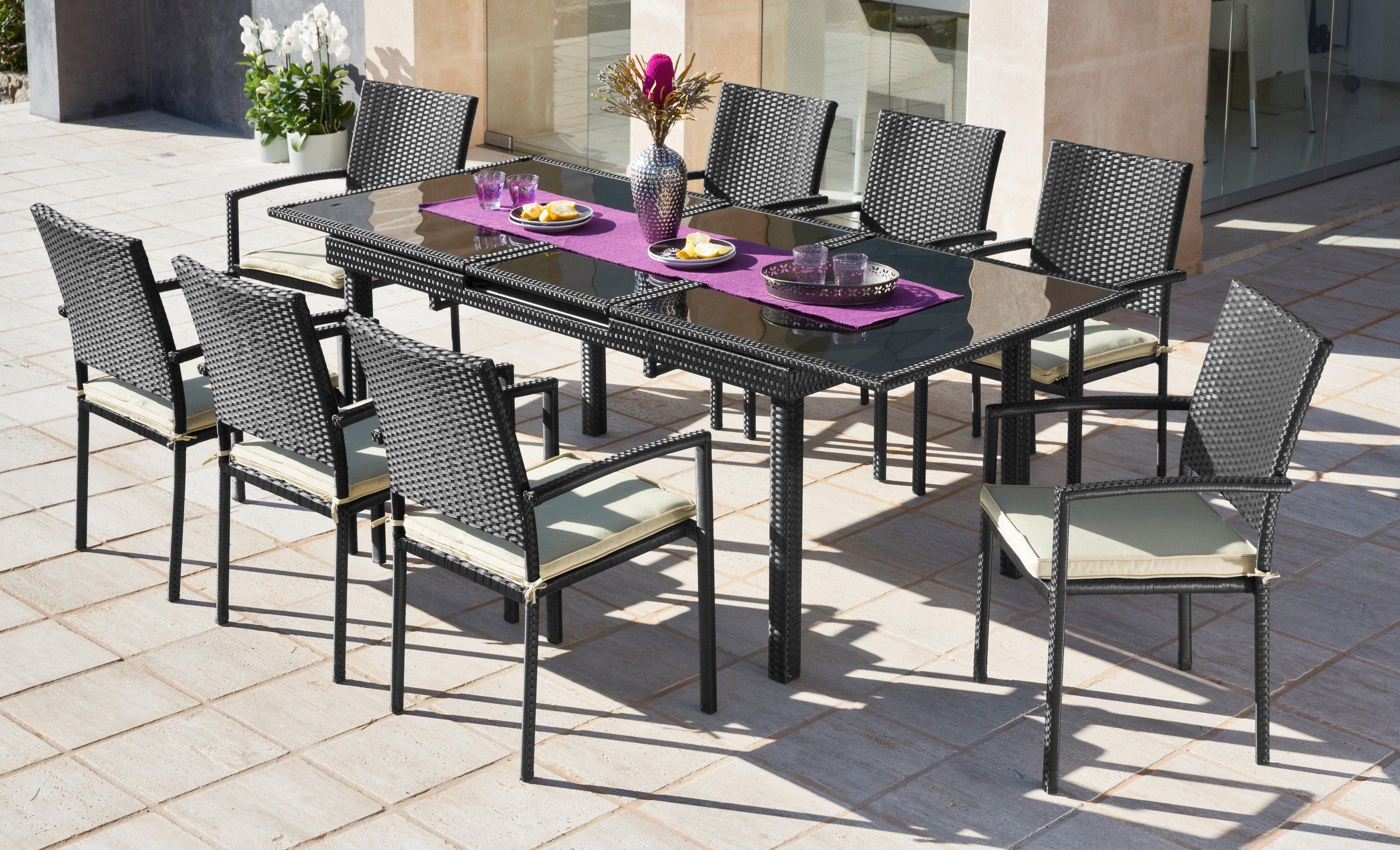 17-tgl. Gartenmöbelset »Alanya«, 8 Sessel, Tisch 160-210cm, Polyratten, schwarz