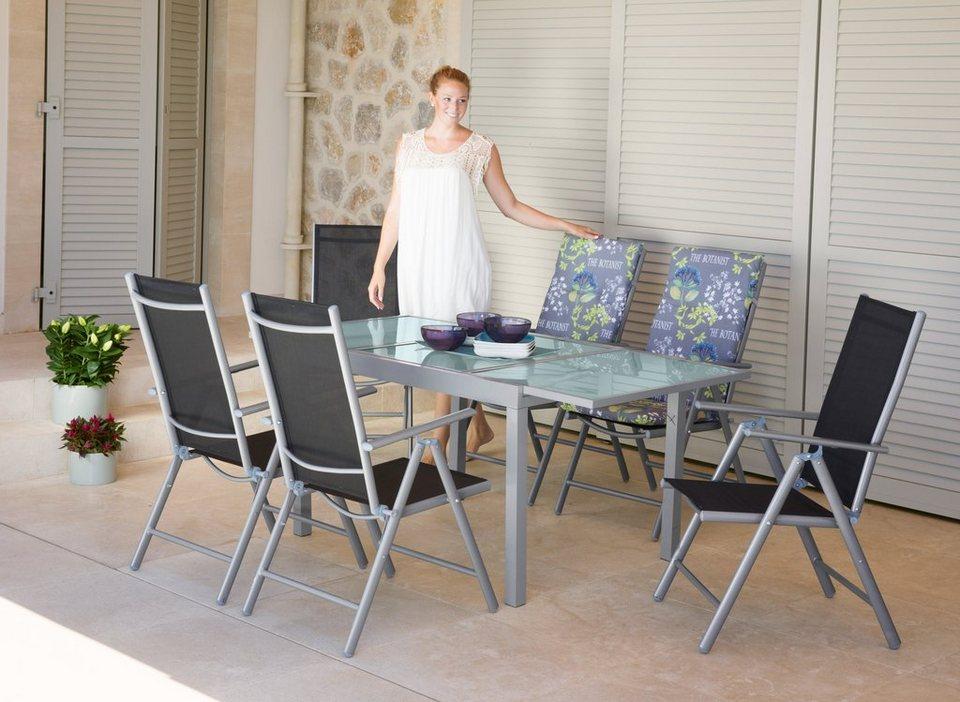 Gartenmöbel set alu 3 teilig  Gartenmöbelset »Lima«, 7-tlg., 6 Hochlehner, Tisch 120-180 cm, Alu ...