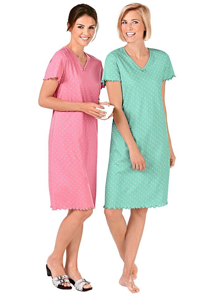 Sleepshirts, Rosalie (2 Stck.) in mint + koralle