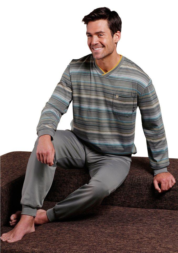 Schlafanzug, Hajo in grau-geringelt