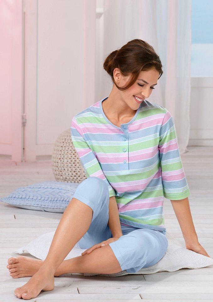 Schlafanzug in bleu-gestreift
