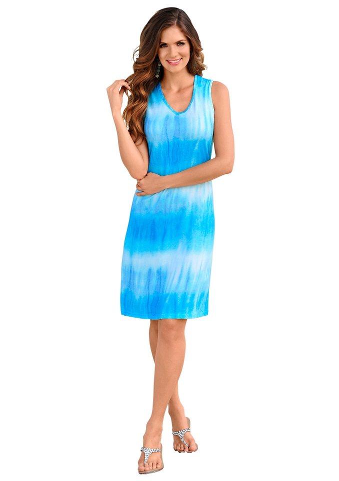 Strandkleid in blau-bedruckt