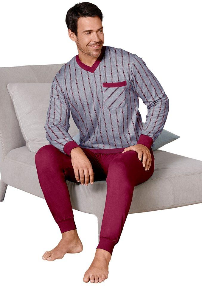 Schlafanzug, Kings Club in grau-bordeaux-meliert