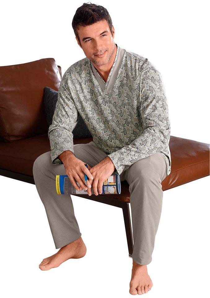 Schlafanzug, Götting in grau-bedruckt